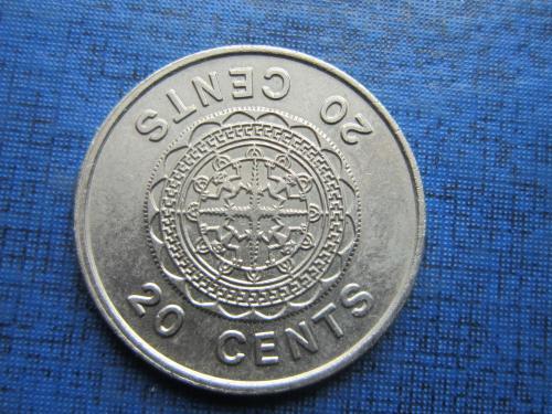 Монета 20 центов Соломоновы острова Британская колония 1977