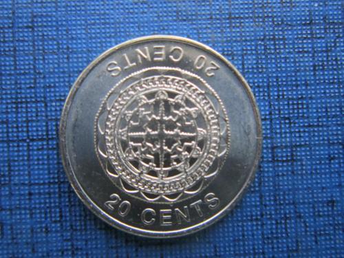 Монета 20 центов Соломоновы острова Британская колония 2012