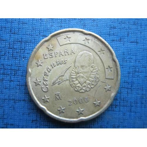Монета 20 евроцентов Испания 2006 Сервантес