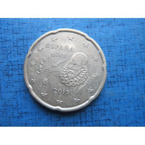 Монета 20 евроцентов Испания 2017 Сервантес