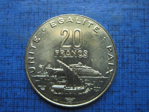 Монета 20 франков Джибути 2016 корабль состояние