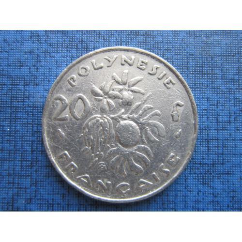 Монета 20 франков Полинезия Французская 1975