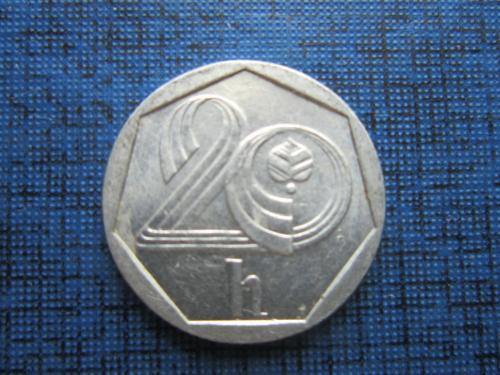 Монета 20 геллеров Чехия 1993
