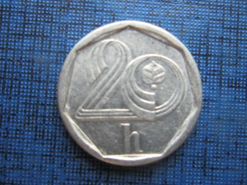 Монета 20 геллеров Чехия 1995