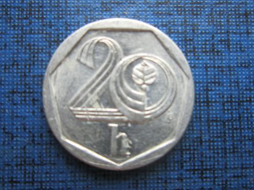 Монета 20 геллеров Чехия 1999