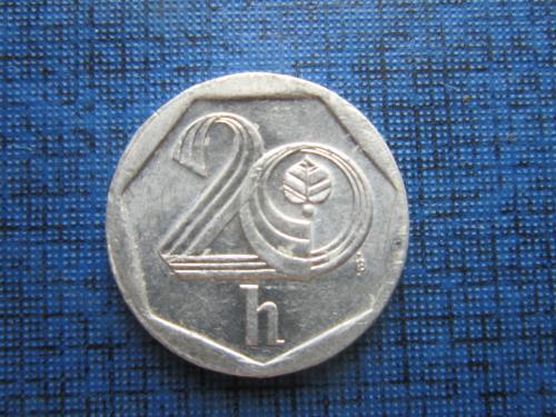 Монета 20 геллеров Чехия 2001