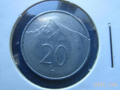 Монета 20 геллеров Словакия 1996