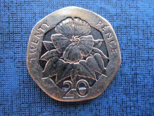 Монета 20 пенсов Острова Святой Елены и Вознесения 2006 флора UNC