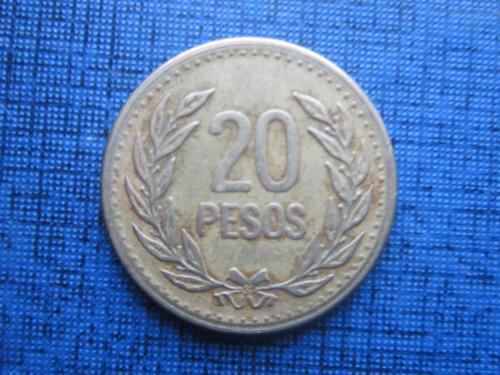 монета 20 песо Колумбия 1989