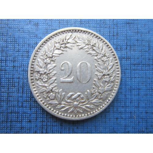 Монета 20 раппен Швейцария 1920