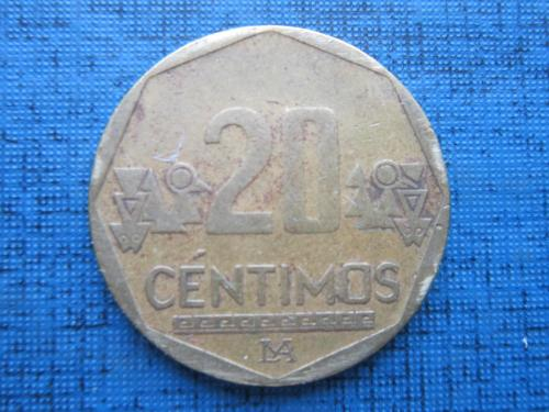 Монета 20 сентимо Перу 2002