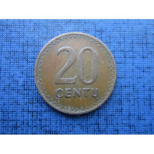 Монета 20 сенту Литва 1991