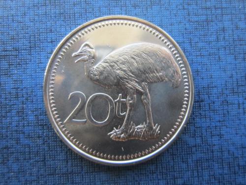 Монета 20 тоеа Папуа и Новая Гвинея 2009 фауна птица состояние