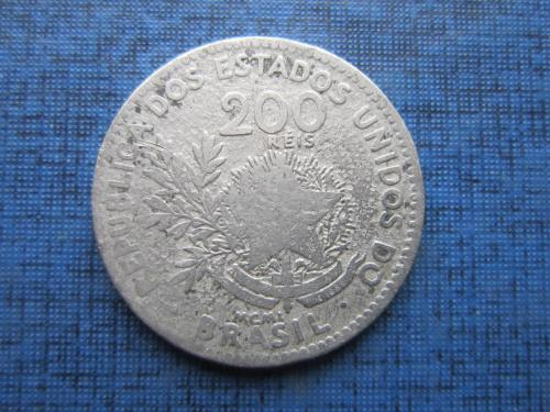 Монета 200 рейс Бразилия 1901