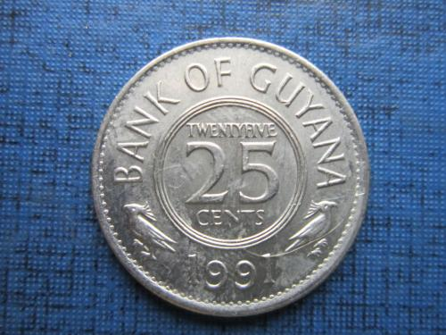 Монета 25 центов Гайана 1991 фауна птицы