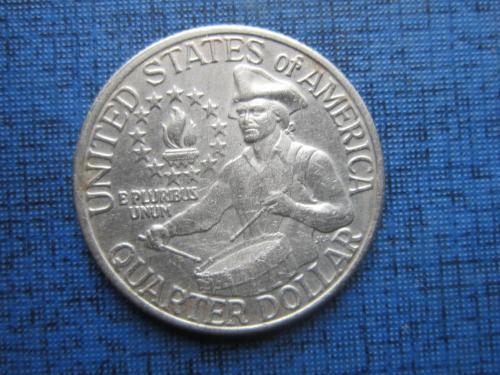 Монета 25 центов квотер США 1976 юбилейка барабанщик барабан