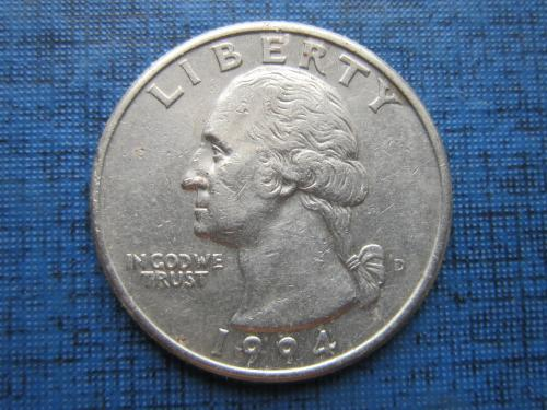 Монета 25 центов квотер США 1994 D