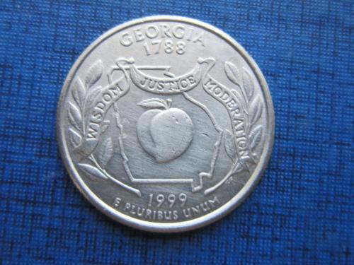 Монета 25 центов квотер США 1999 Р Джорджия