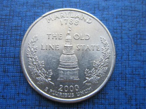Монета 25 центов квотер США 2000 Р Мэриленд