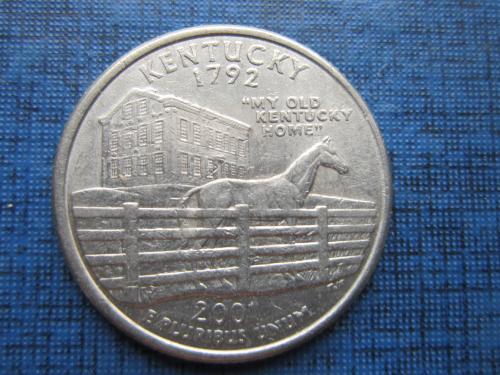 Монета 25 центов квотер США 2001 D Кентуки фауна лошадь