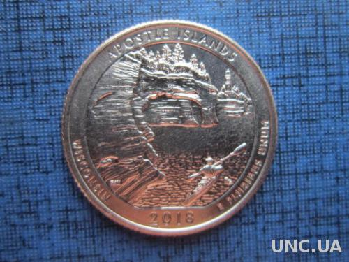 Монета 25 центов квотер США 2018 D остров Апостолов Висконсин лодка 42-й парк