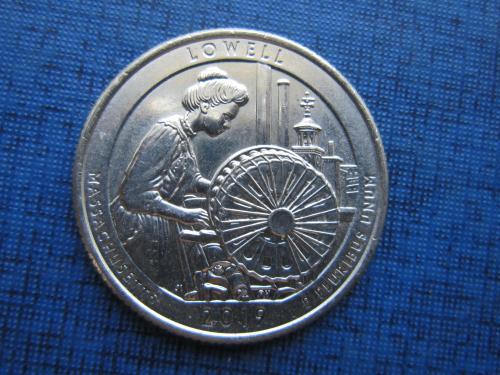 Монета 25 центов квотер США 2019 D 46-й парк Лоуэл Массачусетс