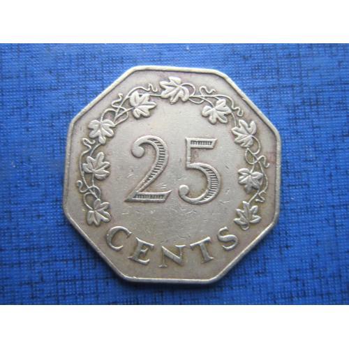 монета 25 центов Мальта 1975 лодка корабль