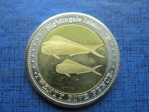 Монета 25 пенсов Тристан-да-Кунья Остров Найтингел 2011 фауна рыба золотая макрель состояние