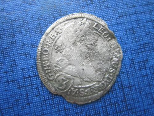 монета 3 крейцера Австрия 1698 Леопольд I Штрия Грац