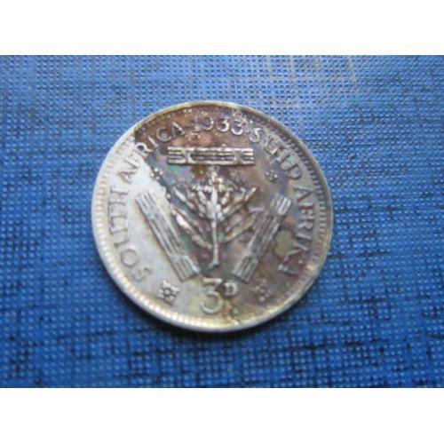 Монета 3 пенса ЮАР 1933 серебро