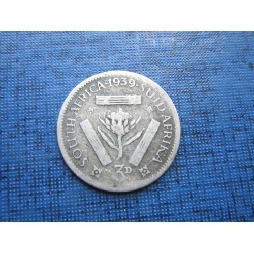 Монета 3 пенса ЮАР 1939 серебро
