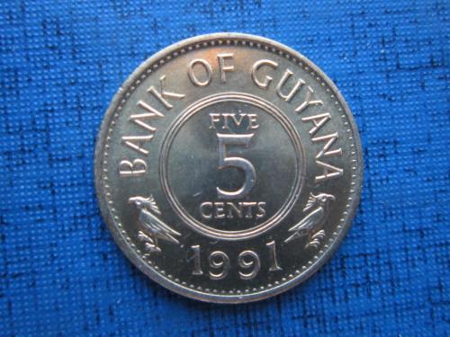 Монета 5 центов Гайана 1991 фауна птицы состояние