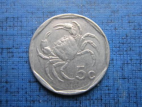 Монета 5 центов Мальта 1998 фауна краб