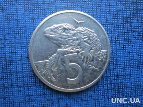 монета 5 центов Новая Зеландия 1987 фауна игуана