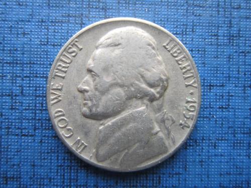 Монета 5 центов США 1954-D