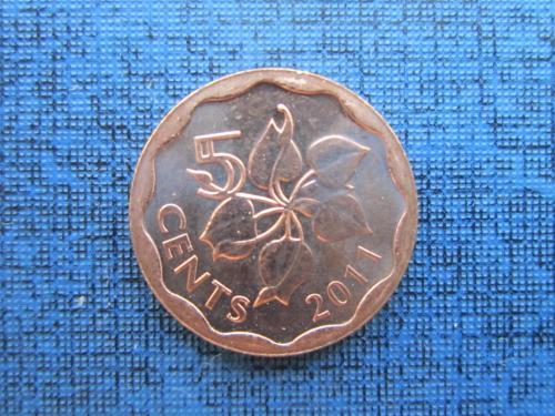 Монета 5 центов Свазиленд 2011 UNC