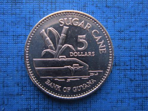 Монета 5 долларов Гайана 2018 сахарный тростник