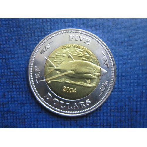 Монета 5 долларов Кокосовые острова Килинг 2004 фауна акула состояние