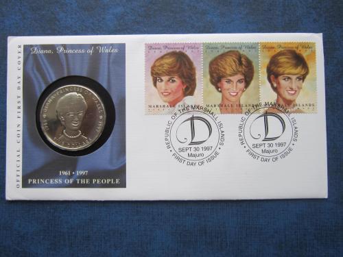 Монета 5 долларов Маршаловы острова 1997 Леди Диана конверт КПД марки СГ