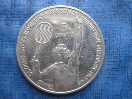 Монета 5 долларов Ниуэ 1987 спорт теннис Борис Бейкер олимпиада Сеул