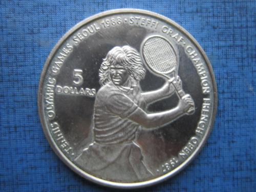Монета 5 долларов Ниуэ 1987 спорт теннис Штефи Граф олимпиада Сеул