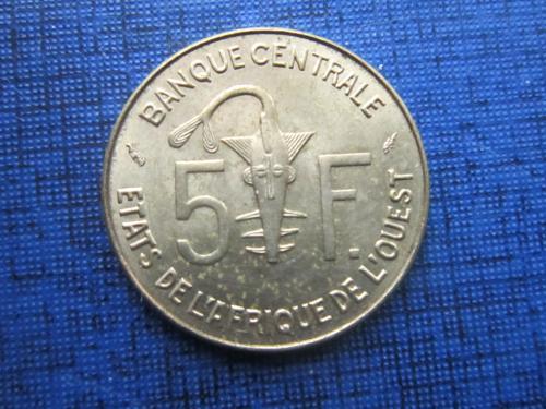 Монета 5 франков КФА 1977 Западная Африка фауна рыба антилопа