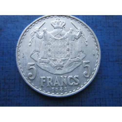 Монета 5 франков Монако 1945