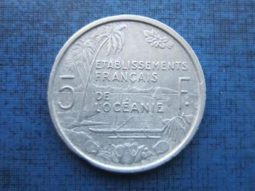 Монета 5 франков Океания Французская 1949 корабль лодка