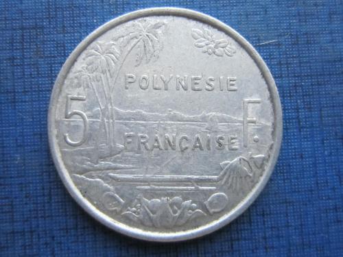 Монета 5 франков Полинезия Французская 1977 корабль лодка