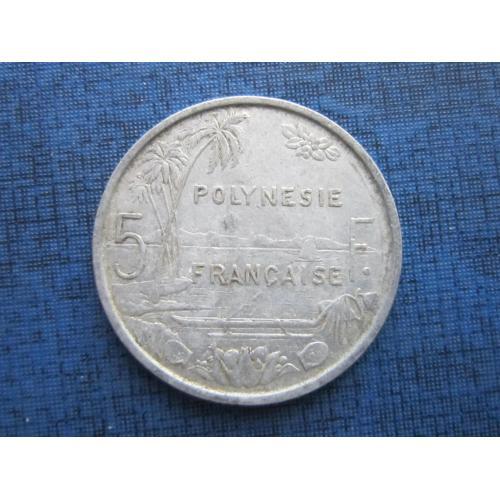 Монета 5 франков Полинезия Французская 1982 корабль лодка
