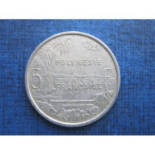 Монета 5 франков Полинезия Французская 1983 корабль лодка