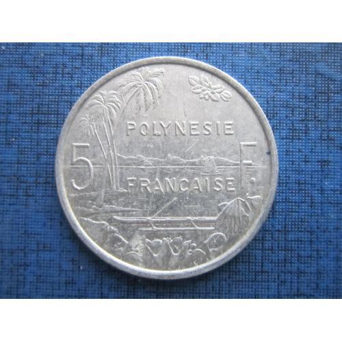 Монета 5 франков Полинезия Французская 1998 корабль лодка