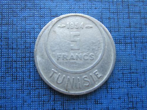 Монета 5 франков Тунис 1954