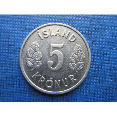 Монета 5 крон Исландия 1975